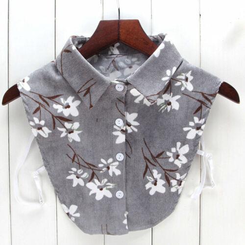 Women Winter Bear Embroid Blouse False Collar Shirt Blouse Detachable Collars