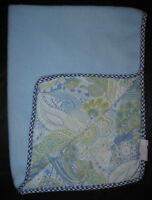 Blue Green White Paisley Fleece Gingham Trim Lovey Security Baby Blanket