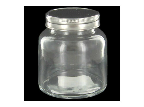 Round Clear Glass Storage Jar Polished Metal Lid Choose 3 3 5 4 Jars Canister