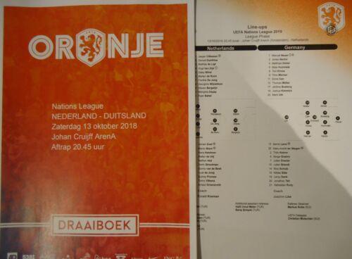 Draaiboek Script /& Lineups 13.10.2018 Niederlande Holland Deutschland