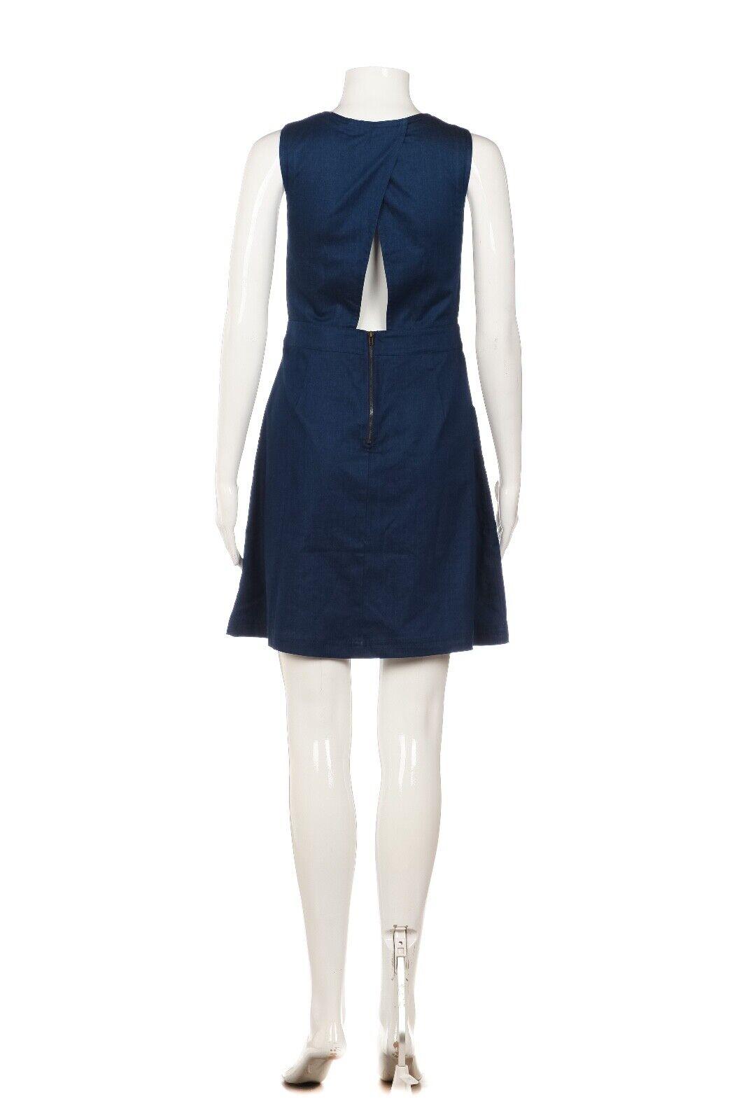 LUSH Mini Dress Medium Blue Apron Cut Out Back Zi… - image 3