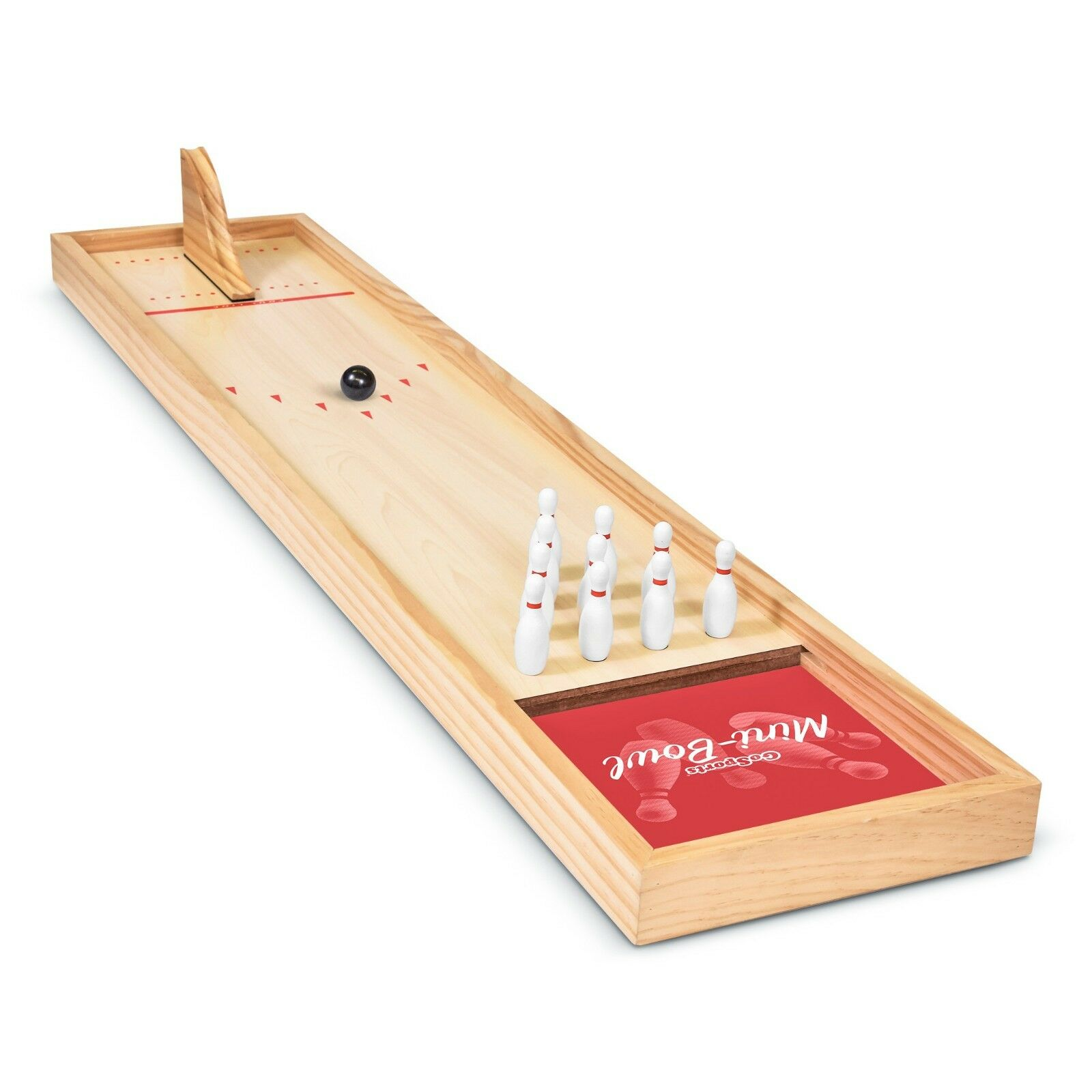 GoSports Mini Wooden Tabletop Indoor Bowling Game Set for Kids & Adults