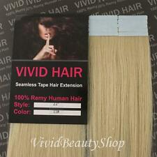 """10pcs 22"""" Remy Seamless Tape Skin Weft Human Hair Extensions Lightest Blonde #11"""