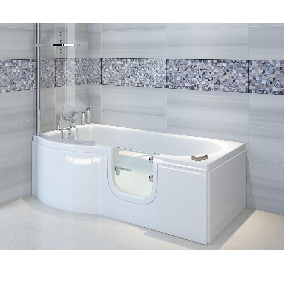 Badewanne mit Tür 167,5x85 75cm+Schürze+Ablauf,wahlweise auch mit Duschkabine