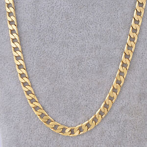 18K-Yellow-Gold-Filled-Link-Cuban-Chain-Necklace-24-034-7mm-Thick-Men-039-s-Jewelry