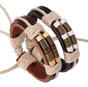 Men-039-s-Leather-Wrap-Hemp-Rope-Bangle-Surfer-Cuff-Wristband-Bracelet-Adjustable