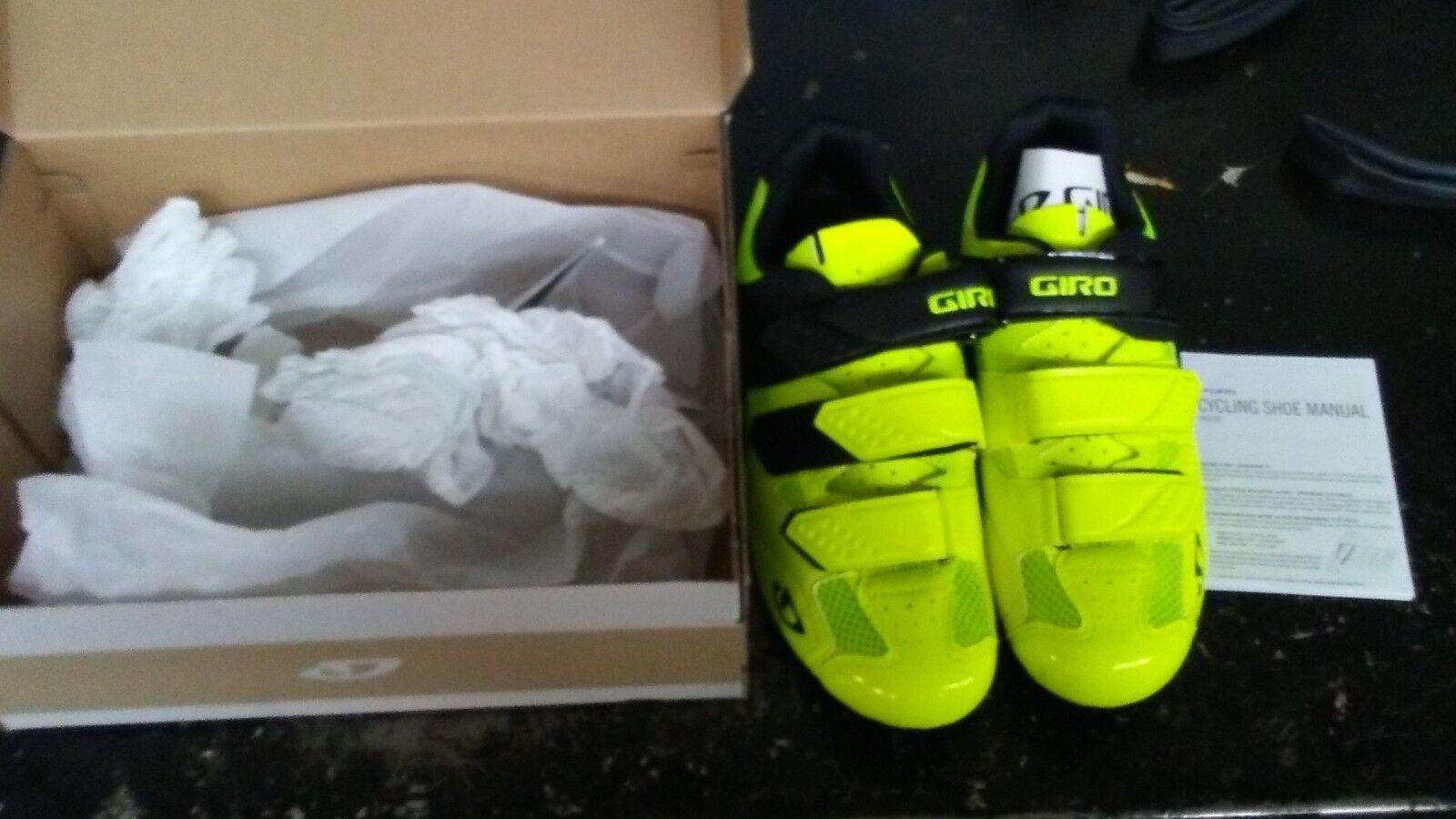 New Giro Men's Treble II Bicycle Road shoes Yellow US 9.5 Euro 43 SPD Look