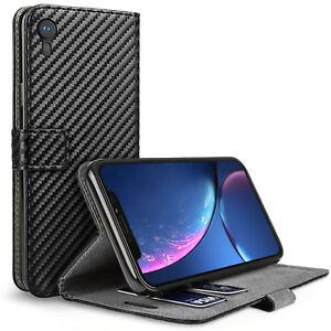 Apple-iPhone-XR-6-1-Flip-Case-Carbon-Fibre-Pattern-Best-Leather-Wallet-Cover