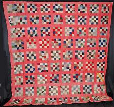 VINTAGE QUILT TOP 1900's PIECED HAND SEWN PATCHWORK 16 BLOCKS 93'' x 93''