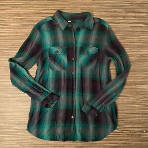 BDG-Urban-Outfitters-Green-amp-Blue-Plaid-Button-up-Shirt-Top-Size-Small-S-EUC