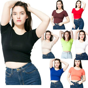 fc84d4e50492e Image is loading American-Apparel-AA041-Short-Sleeve-Cotton-Spandex-Crop-