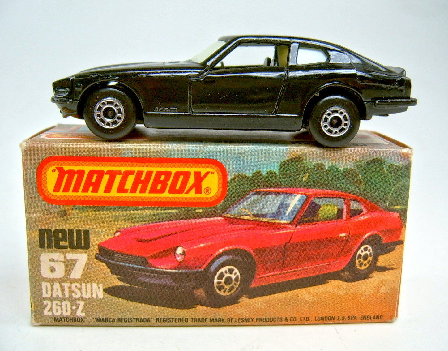 Matchbox SF nº 67c Datsun 260z completamente en nero  Glow-in-the-Dark  discos