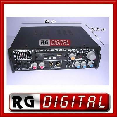Skytronic AV-360 Amplificatore audio finale di potenza Hi-Fi 2 x 40 Watt, ingressi USB SD MP3, Radio FM, AUX