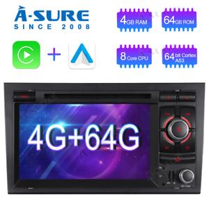8 Core Android 10 4+64GB Autoradio DVD GPS Navi DAB+ für Audi A4 Avant Combi S4