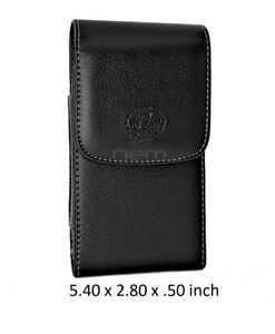 Black-Vertical-Leather-Case-Pouch-Holster-w-Swivel-Belt-Clip-5-40-x-2-80-x-50
