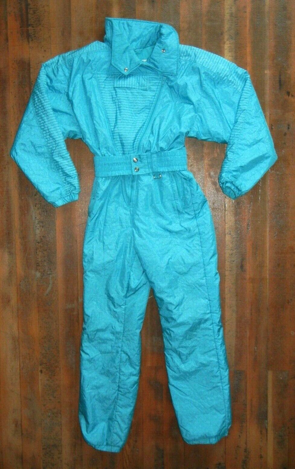 Vtg 90s NILS Bright Teal SKI SUIT Winter Jacket Coat Snow Pants Lady damen SZ 14
