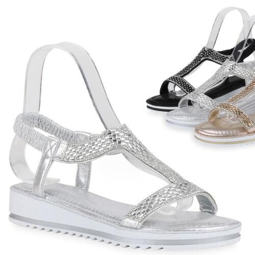 Damen Sandaletten Keilsandaletten Strass Keilabsatz Sandalen 830942 Trendy