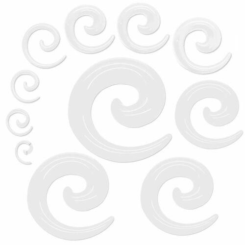 1x Set Dehnspiralen Sichel Dehner 1,6-16mm Weiß Ohr Plug Tunnel Piercingschmuck