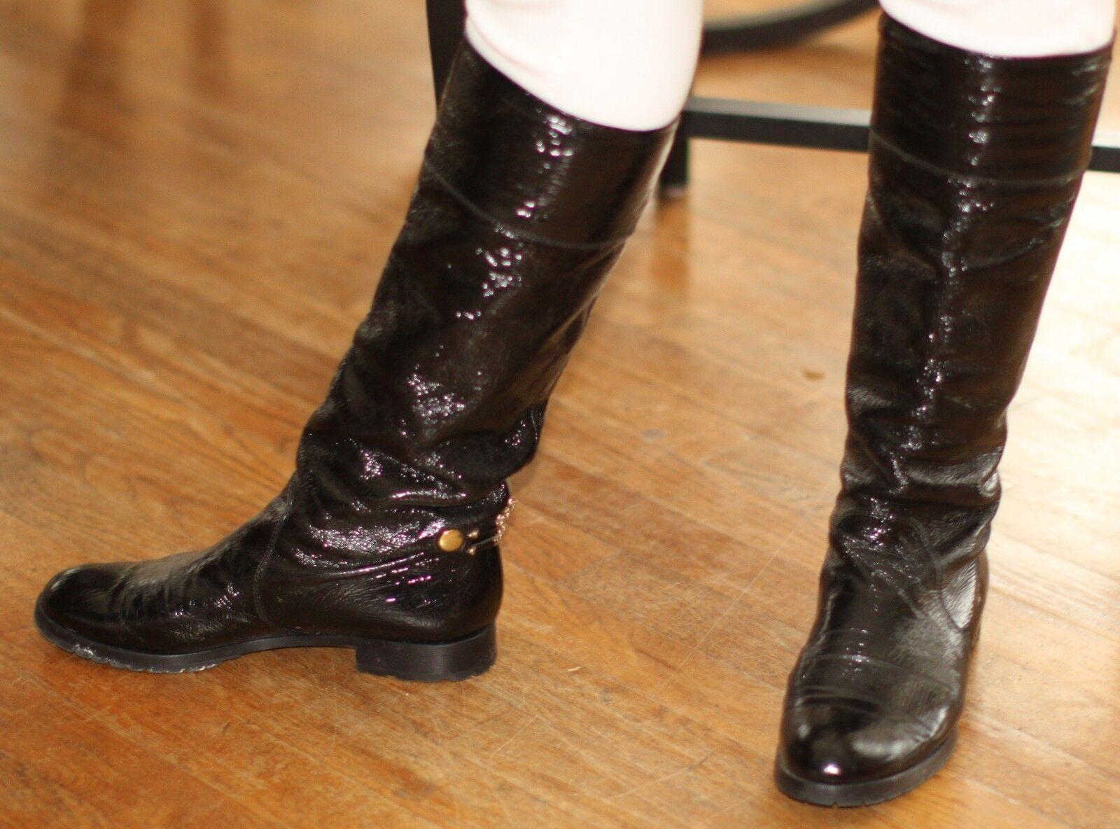 Marc Jacobs Negro Suave Charol botas Planos Rodilla Alta De De De Cadena de oro 8.5-39.5  ahorrar en el despacho