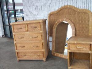 Details about Vintage Natural Wicker 4 Pc.Bedroom Set