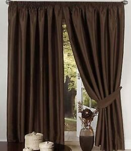 Marron Chocolate Forrado Seda Artificial Cortinas Lazos 8 Tamanos - Cortinas-marron-chocolate