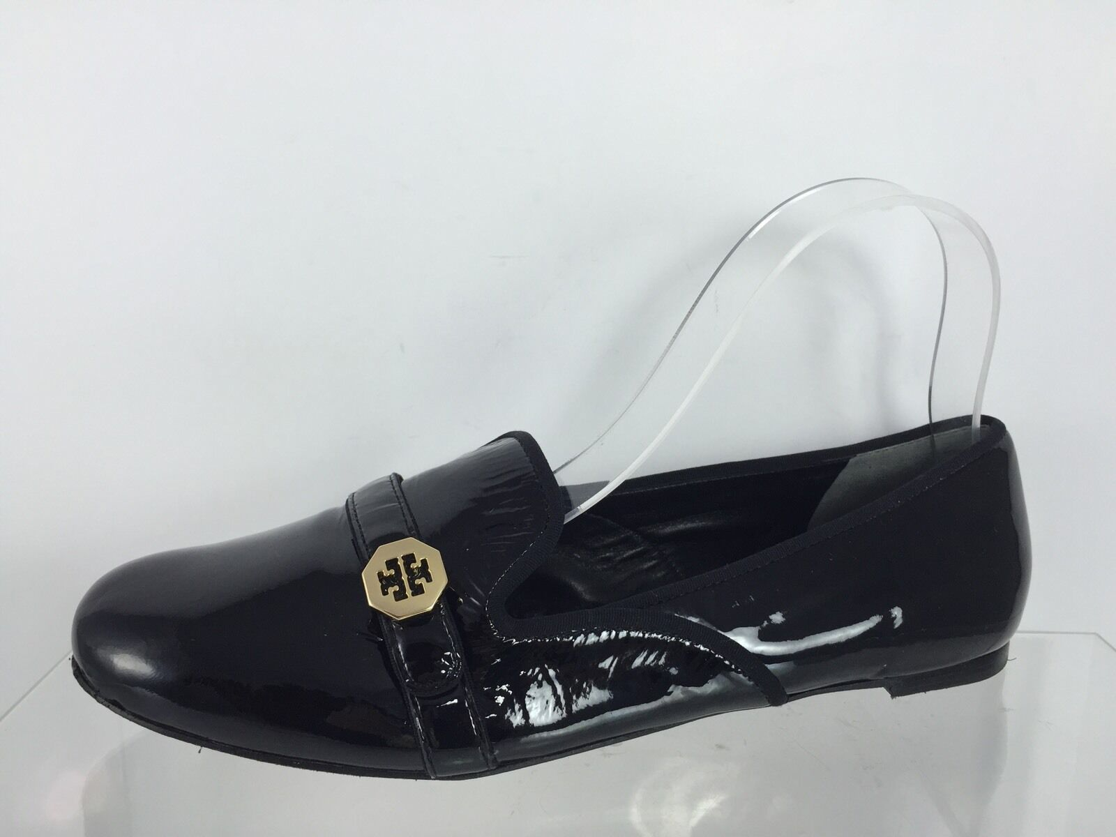 Tory Burch Womens Black Leather Flats 8.5 M