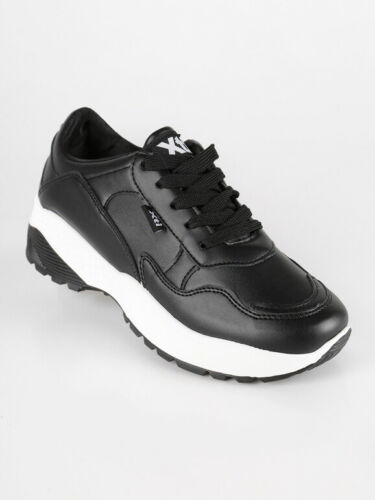 Sneakers con zeppa in ecopelle donna