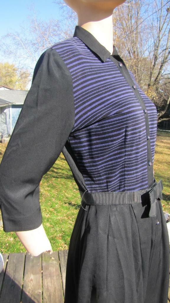 1940s MINX MODES BLACK GABARDINE DRESS W PURPLE C… - image 5
