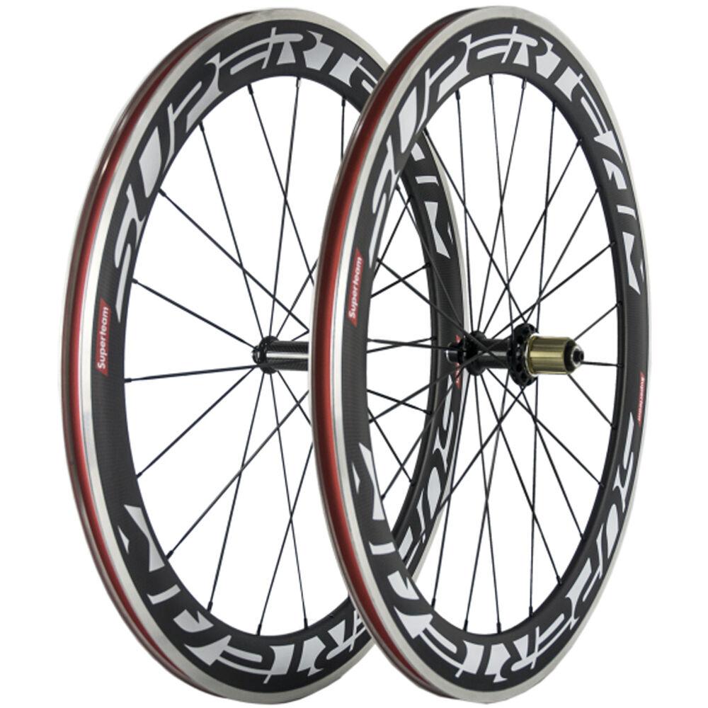 Aluminum Braking Surface Clincher Carbon Wheels 60mm Road Bike Carbon Wheelset