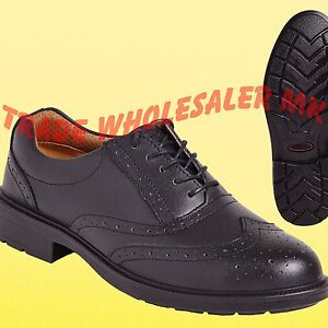 f8320a822f9 Details about City Knights Leather Steel Toe Cap Brogue Safety Shoes Smart  Office SS500CM