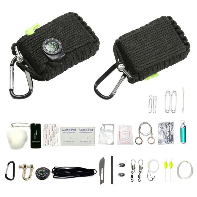 29 in 1 Paracord Emergency Survival Set First Aid Camping Fishing Whistle Fire