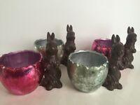 Burton & Burton Chocolate Bunny Foil Egg Planter Container Set Of 4