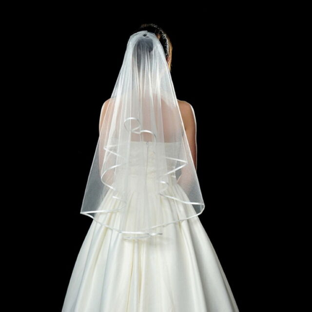 Simple White Wedding Bridal Voile Veils Elbow Satin Edge Veil  KK