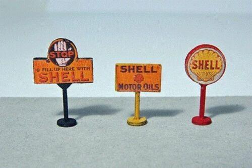 3 JL Innovative 464 HO Vintage Shell Gas Station Curb Signs