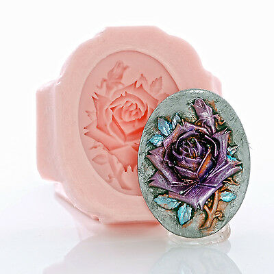 Silicone Mold Rose Cameo Jewelry Mold Resin Clay - Food Safe Mold Fondant (542)