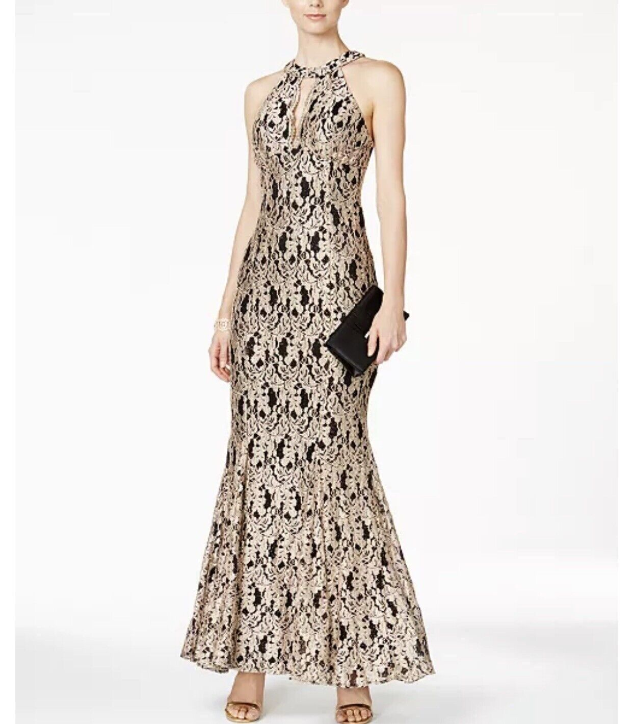 Nightway Lace Keyhole Mermaid Halter Gown 4 Gold Lace Maxi Formal Prom Pageant