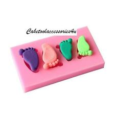 4 Baby Feet Silicone Mould Mold Sugarcraft Cup Cake Decoration Topper Chocolate