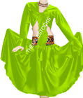 TMS Multi Satin Skirt Ruffle Top Belly Dance Gypsy Club Tribal Jupe Robe Costume