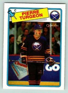 1988-89-O-PEE-CHEE-PIERRE-TURGEON-Vintage-Rookie-RC-Card-194-Buffalo-Sabres