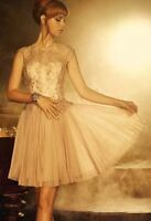 Ted Baker 'Remma' Gold Pink Lace Overlay Dress Wedding TED Size 1 US 4 NWT $800