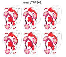 Tropical Hawaiian Flowers Lenticular Luggage Tag FlipFlop SET OF 6 #LTFF-365-S6#