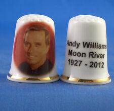 Birchcroft China Thimble -- Music Stars - Andy Williams -  Free Dome Gift Box