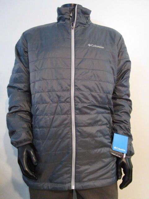 NWT Mens 1X-2X-3X Columbia Crested Butte Puffer Insulated Omni-Heat Jacket Gray