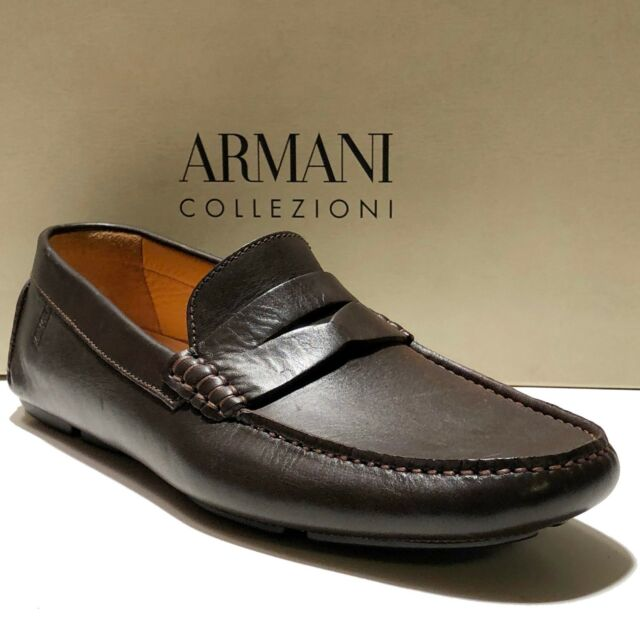 b603de7ff37 Armani Men s Brown Leather Penny Loafers Drivers 10 Shoes Dress Casual  Fashion for sale online