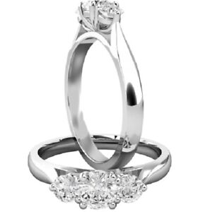 0.90 Ct Round Cut Moissanite Anniversary Ring 14K Solid White Gold ring Size 6 7