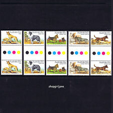1980 - Australia - Australian Dogs - gutter set of 10 - Mnh Dingo Kelpie Terrier