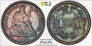 1872 DDO SEATED LIBERTY HALF DIME, PCGS AU DETAILS, SCARCE, 18 GRADED BY PCGS!