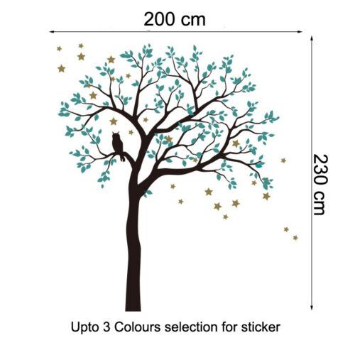 200x230cm owl hoot star tree wall stickers vinyl decal kids nursery decor art au ebay