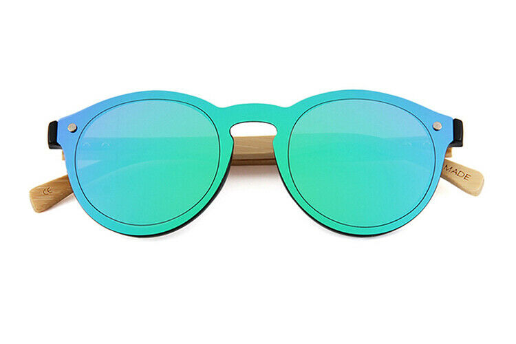 Bamboo Wood Textured Real Wood Temples Round Mens Womens Sunglasses UV400