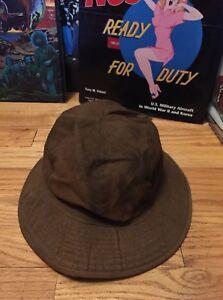 0beed61297b Vintage WWI WWII US Army Emergency Brown Color Denim Bucket Hat ...